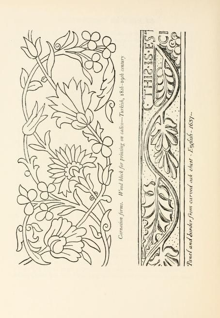 Heraldry and floral forms as used in decoration;