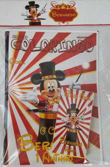 Kit de colorir do circo do Mickey  Contém 12 desenhos do tema  A primeira folha do livrinho vai personalizada com nome e idade da criança  Capa fotográfica  Giz de cera personalizado com 6 cores  Vai embalado no saquinho fechado com a lapela como na foto  * Fazemos todos os temas.    Consulte- no...