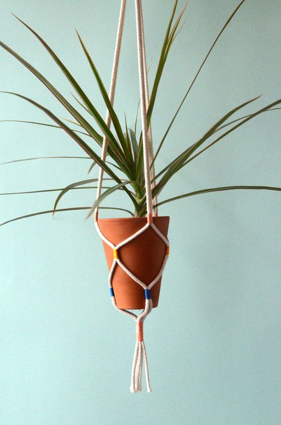 Hanging planter / Hanging plant holder / Cotton cord + vintage thread plant hanger / Pink, blue + yellow