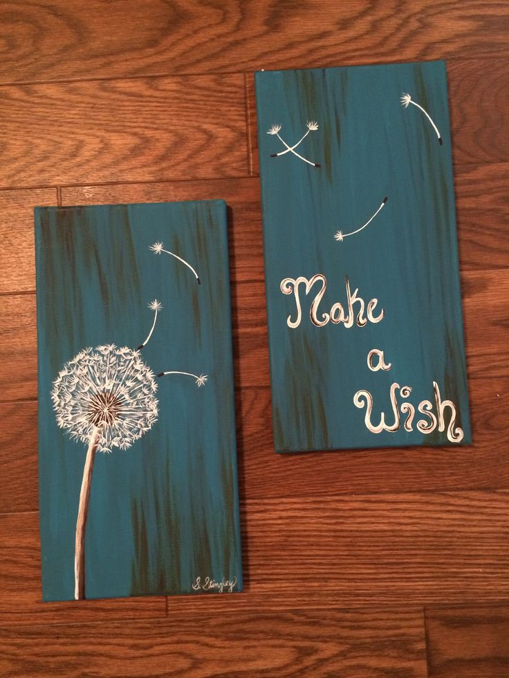 Make A Wish Dandelion Two 7 X14 Canvases My Paintings