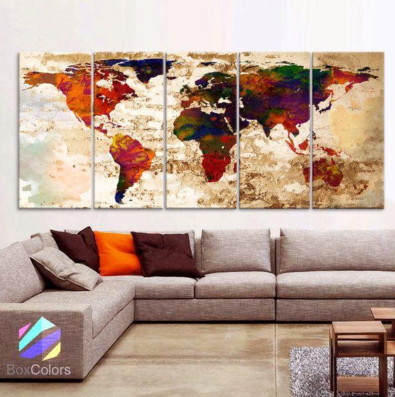 XLARGE 30 x 70 5 panelen Art Canvas Print aquarel door BoxColors