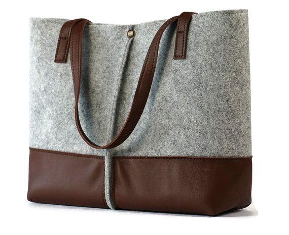 FREE SHIPPING**Leather tote bag, handmade bag,felt bag,felt & leather shoulder bag, tote, large tote bag, felt tote bag