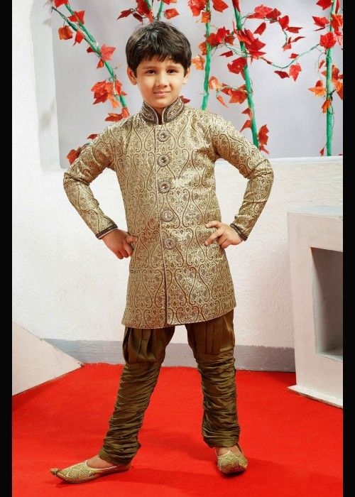 Boys Indo Western sherwani with breeches for special occasion . Buy online at - http://www.gravity-fashion.com/15878-boys-sherwani-with-breeches-for-wedding-and-special-occasion.html
