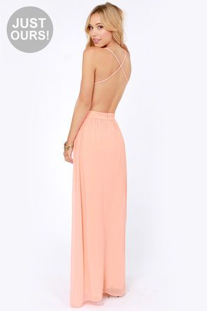 LULUS Exclusive Rooftop Garden Backless Peach Maxi Dress at Lulus.com.. dress is so beautiful! I LOVE the front much better. Shows too much back for me though