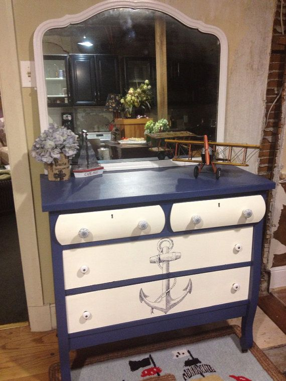 Vintage Nautical Dresser By Redbarnantiquities On Etsy