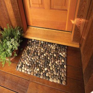 Glue Gun, Scissors, River Rocks at the dollar Store! and Shelf Liner (or mat) in a matching colour - outside front door as boot scrapeRiver Rocks, Back Doors, Dollar Stores, Glue Guns, Rivers Rocks, Stores Pebble, Doors Mats, Shelf Liner, Matching Colors