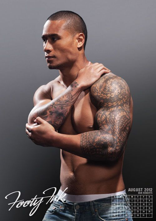 Ben Roberts from the National Rugby League in the Footy Ink 2012 Calendar. #rugby #tattoo
