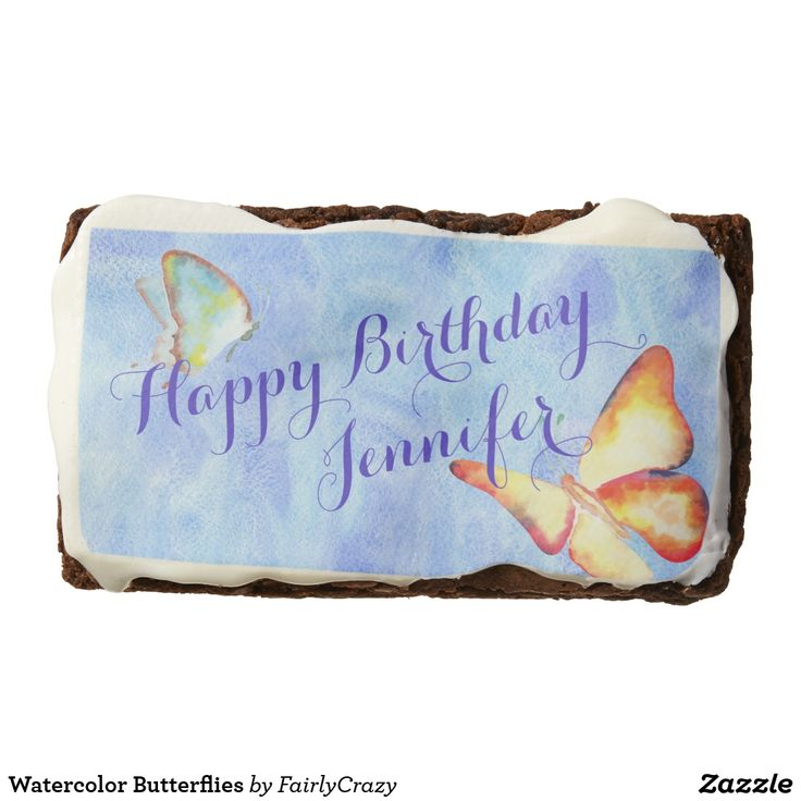 Watercolor Butterflies Birthday Party Brownies - personalize the name. #yummy #partyfood #yummypartyfood #beautifulpartyfood