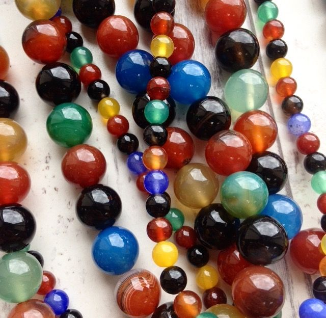 Mixed Colour Agate available on our website - www.beadhouse.co.uk