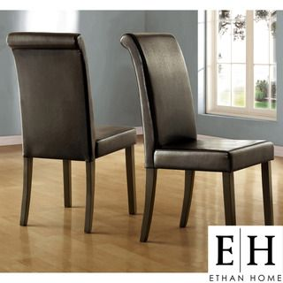 ETHAN HOME Dorian Parson Glossy Black Side Chairs (Set of 2) | Overstock.com  $114.69