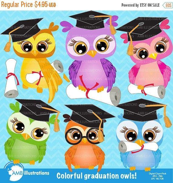 Graduation owls clipart owl clipart by AMBillustrations