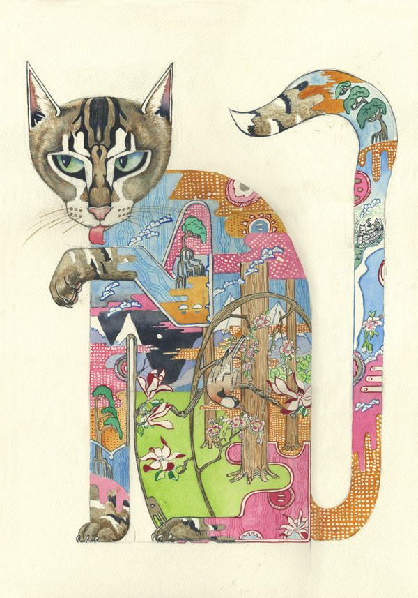 Cat Licking its Paw - Print | Animal Cards and Prints & Screen prints | The DM Collection