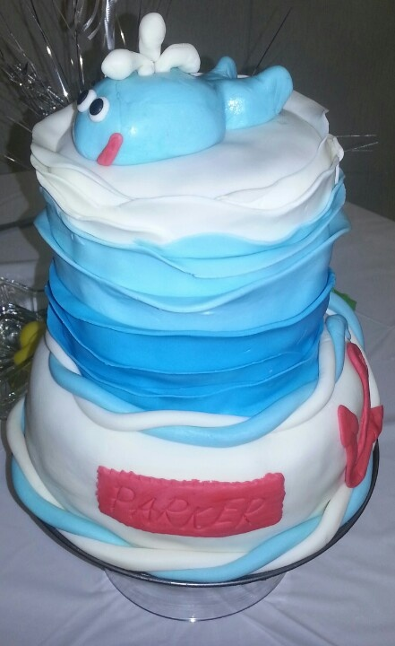 Nautical Baby Shower whale cake