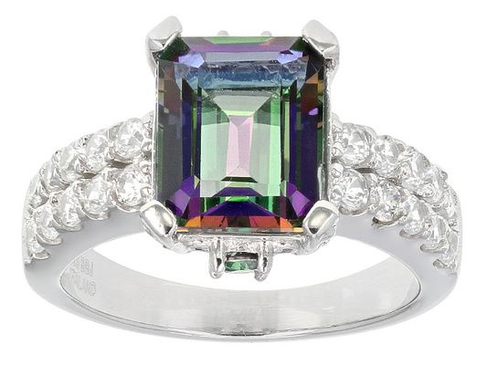 4.20ctw Emerald Cut And Round Mystic(R) Green Topaz With 1.05ctw Round