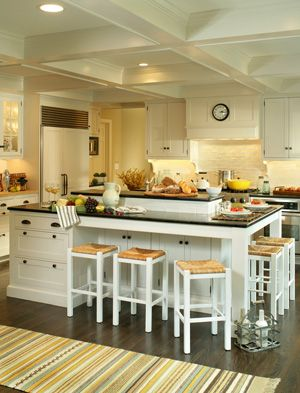 Open Kitchen LookKitchens Design, Dreams Kitchens, S'Mores Bar, Kitchens Ideas, Kitchens Islands, House, Big Islands, Kitchen Islands, White Kitchens