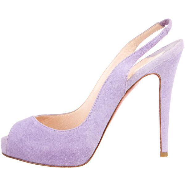 Christian Louboutin Suede Peep-Toe Slingback Pumps (625 AUD) ❤ liked on Polyvore featuring shoes, pumps, purple, purple suede shoes, suede pumps, strap pumps, slingback pumps and purple peep toe pumps