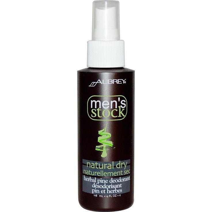 Aubrey Organics, Men's Stock, Natural Dry, Herbal Pine Deodorant, 4 fl oz (118 ml)