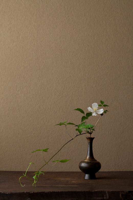 一日一花 川瀬敏郎 2012年6月15日(金) 文句なしの姿。何もしていません。 花=白花山半鐘蔓(シロバナヤマハンショウヅル) 器=金銅華瓶(鎌倉時代)