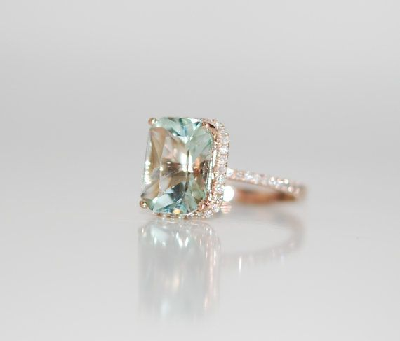 2.67ct Seafoam blue green Aquamarine halo diamond by EidelPrecious