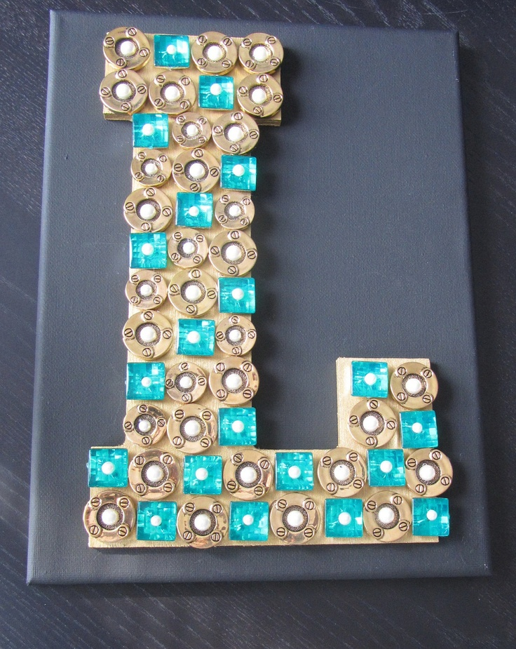 L Wooden Letter With Buttons On Canvas Monogram Wall Art