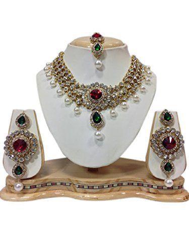 Indian Bollywod Gold Plated Kundan Red Green Stones CZ Party Wear Jewelry Set VVS Jewellers, http://www.amazon.com/dp/B01KC4U6DE/ref=cm_sw_r_pi_dp_x_J8gGzbY6JW3EK