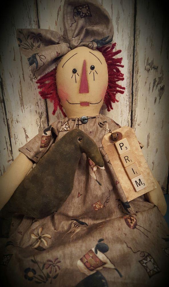 Primitive Little Raggedy Annie Doll w/ Crow ~ Ann ~ Prim ~