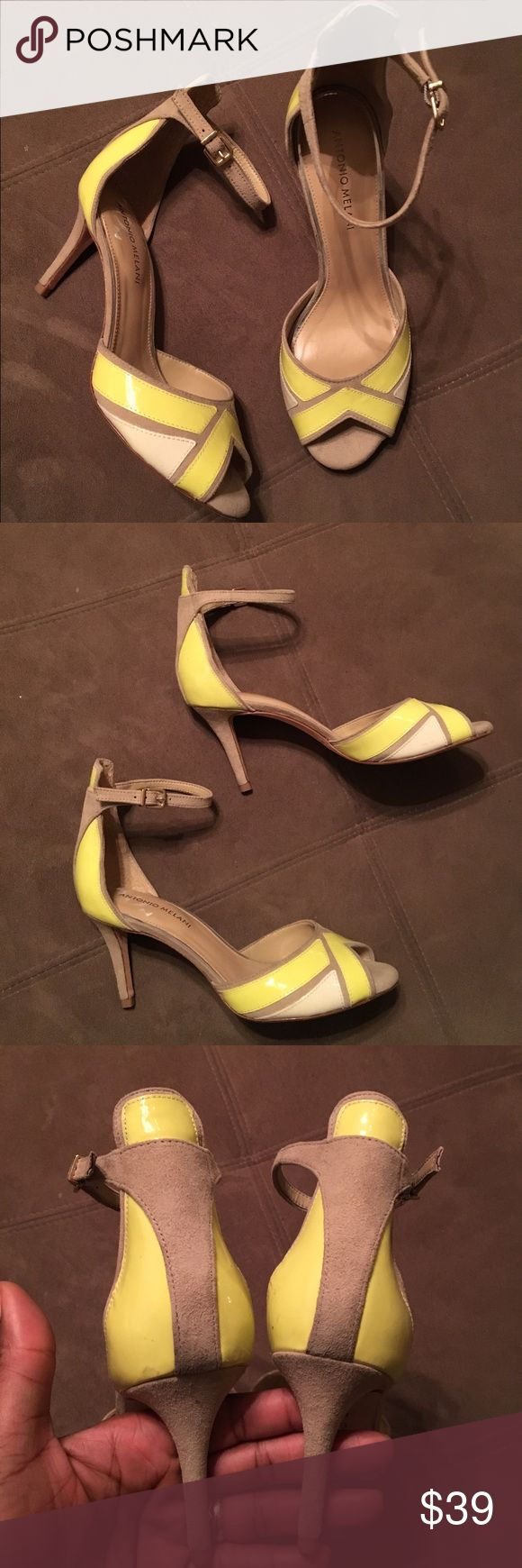"""Antonio Melani shoes Antonio Melani open toe shoes. Preloved, few scurfs from use. In good condition. Fabulous with a flattering girly dress 👗🍭🌺 3.5"""" high ANTONIO MELANI Shoes Heels"""