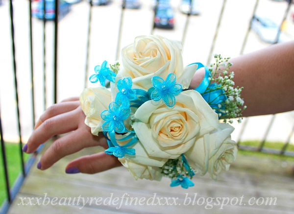 White and Blue Prom Corsage