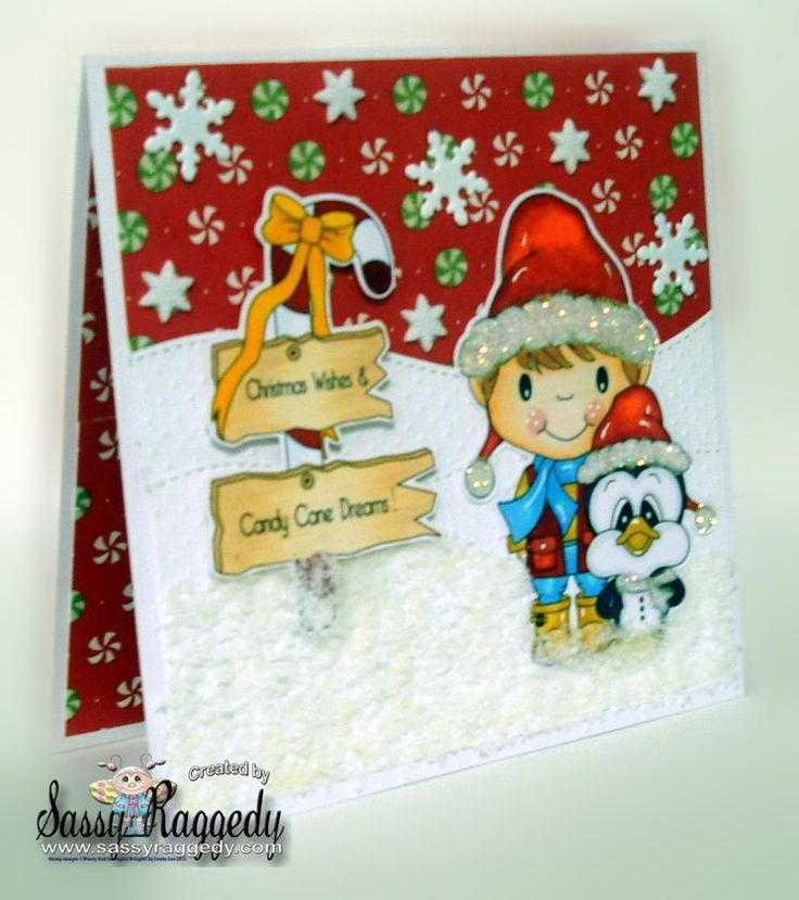 I am in love with this card by Joann Burton (she made our designer of the week too!). Joann used Donnie and Slippy, Candy Cane Sign Post and Candy cane dreams sentiment from www.digitaldelightsbyloubyloo.com: