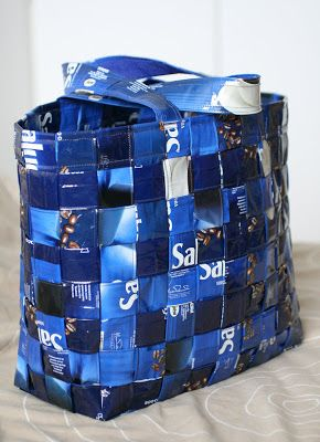 A bag made out of coffee bags
