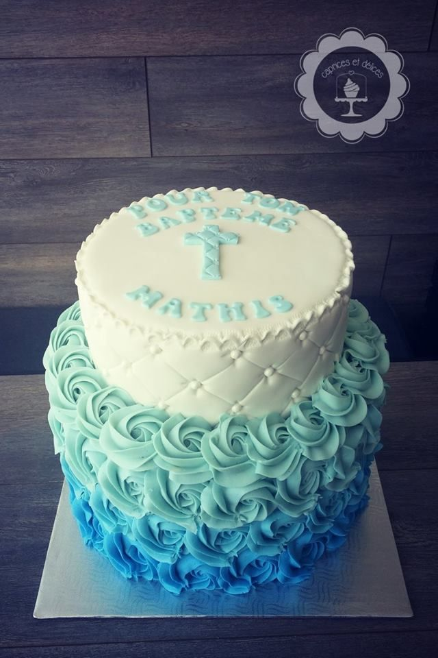 Religious cake with ombre buttercream rosettes by Caprices et Delices