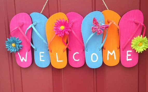 Flip flop wreath summer by Blissuponastar on Etsy