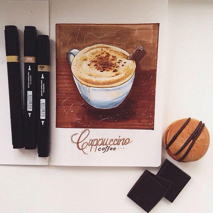 Ещё одна чашечка ароматного капучино для #экстримскетчинг2 ☕️  4 дня подряд рисую разные чашечки с аппетитной кофейной пенкой и не надоедает ведь))хотя думала, что обойдусь одним рисунком и буду ждать следующего задания, но не тут-то было   Затянула кофейная пучина#kalachevaschool#экстримскетчинг#кофе#капучино#kappuccino#корица#расторгуева#скетчинг#скетч#скетчбук#sketchbook#canson#спиртовыемаркеры#vistaartista#леонардо#передвижник#первоезадание