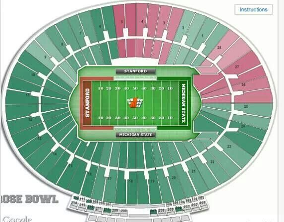 The seating chart for the 2014 Rose Bowl game looks like a home game for Michigan State University. GO GREEN...