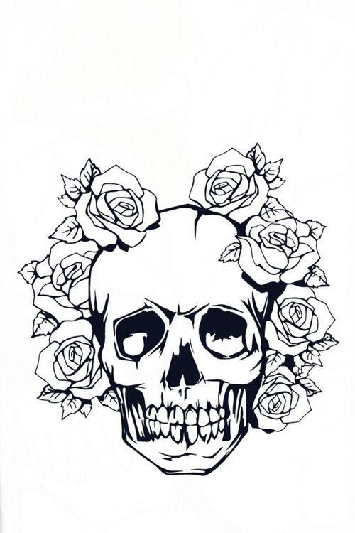 Teschio tattoo rosa bianco nero black blackandwhite for Teschi da disegnare