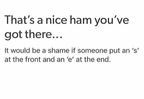 This joke is a shame<< No, it's a ham, what are YOU talking about? XP