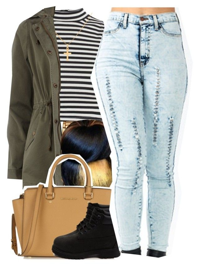 """September 25, 2k15"" by xo-beauty ❤ liked on Polyvore featuring Versace, Boohoo, Sterling Essentials, Dorothy Perkins, Identity, MICHAEL Michael Kors, Timberland, women's clothing, women's fashion and women"