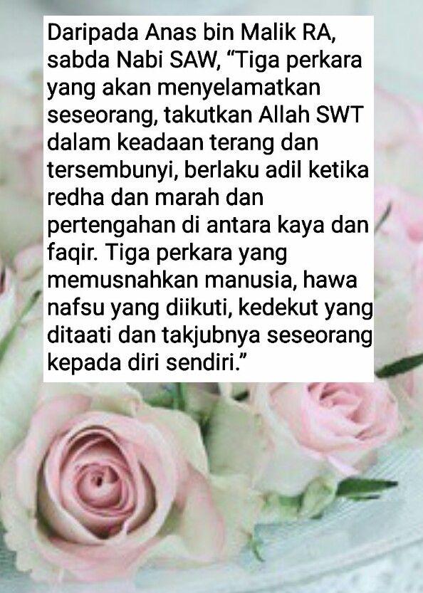 Hadith Nabi SAW. 3 perkara menyelamatkan & 3 perkara memusnahkan