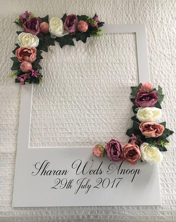 Wedding Floral Personalized Selfie Frame Instagram Facebook Style