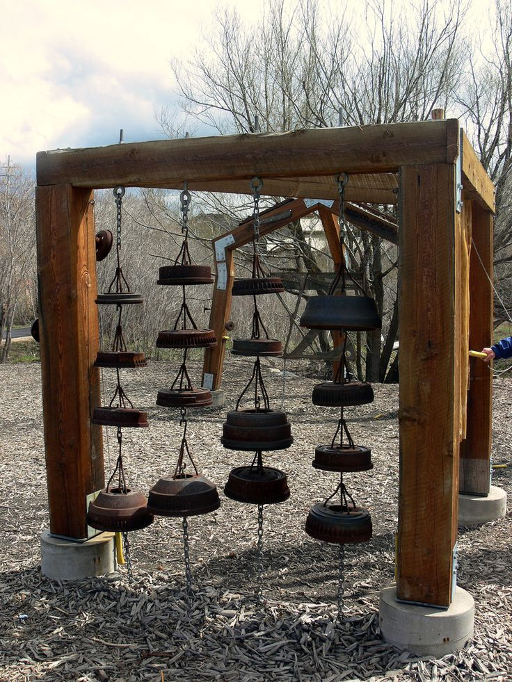 """Another idea for a musical garden area: """"Part of a musical playground in Utah (?).  They appear to be mainly drum brakes.  Originally Pinned by Alec Duncan of http://childsplaymusic.com.au/"""""""
