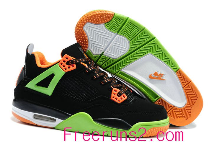 Shop Half off Air Jordan 4 Kids Triple Black Grinch Green Team Orange Cheap New Jordans Shoes