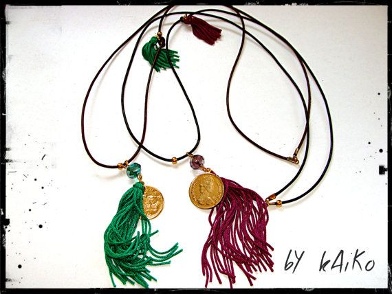 Long necklace with tassels gold bead leather cord by bykaiko