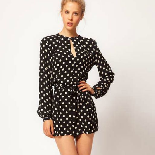 Short jumpsuits for women high waist belt polka dot long sleeve HY-132503392 M