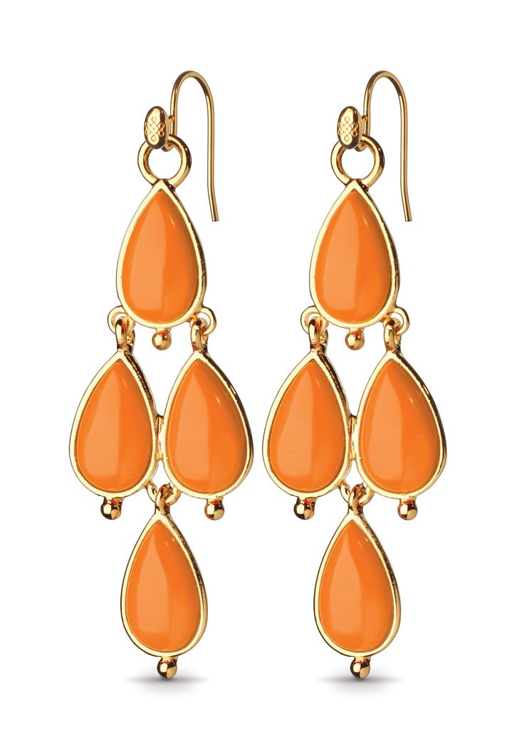 Victoria Drop Earrings, Coral and Gold
