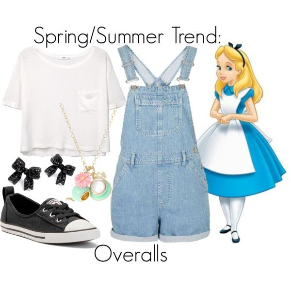 Spring/Summer Trend: Overalls by leslieakay on Polyvore featuring MANGO, Converse, Disney, disney, springtrends, summerstyle and disneybound