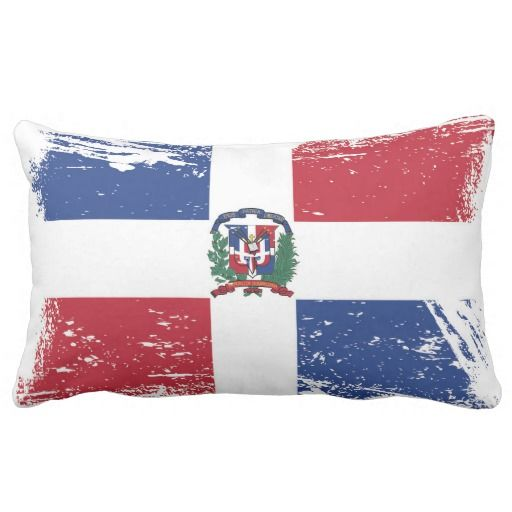 Grunge Dominican Republic Flag Lumbar Pillow