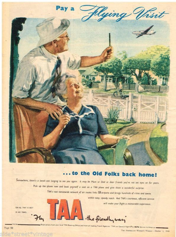 TAA Trans Australia Airlines FLYING VISIT Advert 1949
