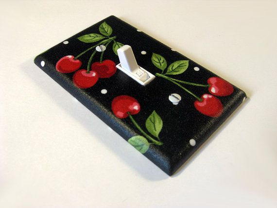 Rockabilly Home Decor Black Cherry Light Switch by ModernSwitch