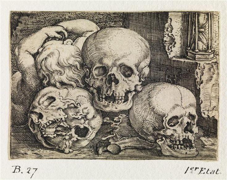 """""""Trois têtes de mort"""" de Barthel Beham (1502-1540). Paris, musée du Louvre, collection Rothschild - Photo (C) Musée du Louvre, Dist. RMN-Grand Palais / Philippe Fuzeau"""