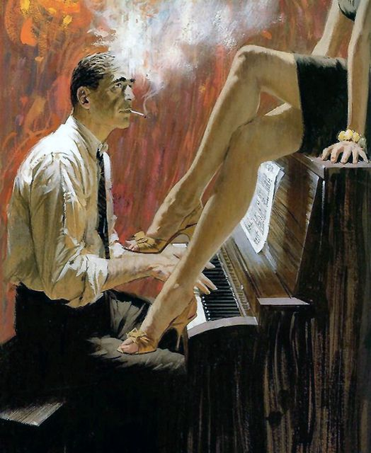 Is there anything more sexy than a pair of beautiful legs up on a piano?  Makes me want to take piano lessons!  The piano player obviously doesn't need that sheet music, as he is focused on the lady.  This artwork no doubt appeared on a paperback cover, but I don't know the details.  If you do, drop me a comment.